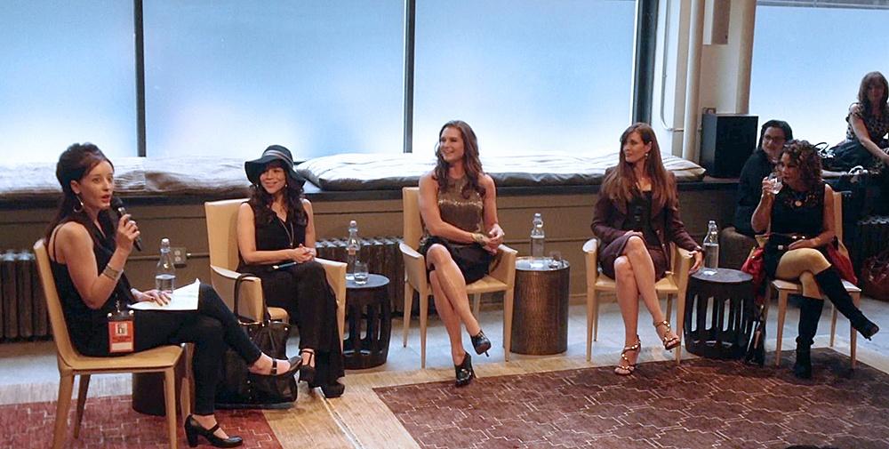 L-R: Moderator Anna Merlan, Rosie Perez, Brooke Shields and Daphne Rubin-Vega